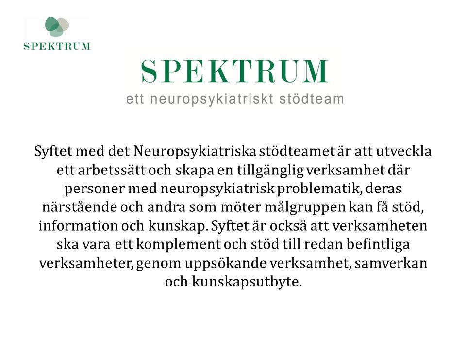 Syftet med det Neuropsykiatriska stödteamet är att utveckla ett arbetssätt och skapa en tillgänglig verksamhet där personer med neuropsykiatrisk probl