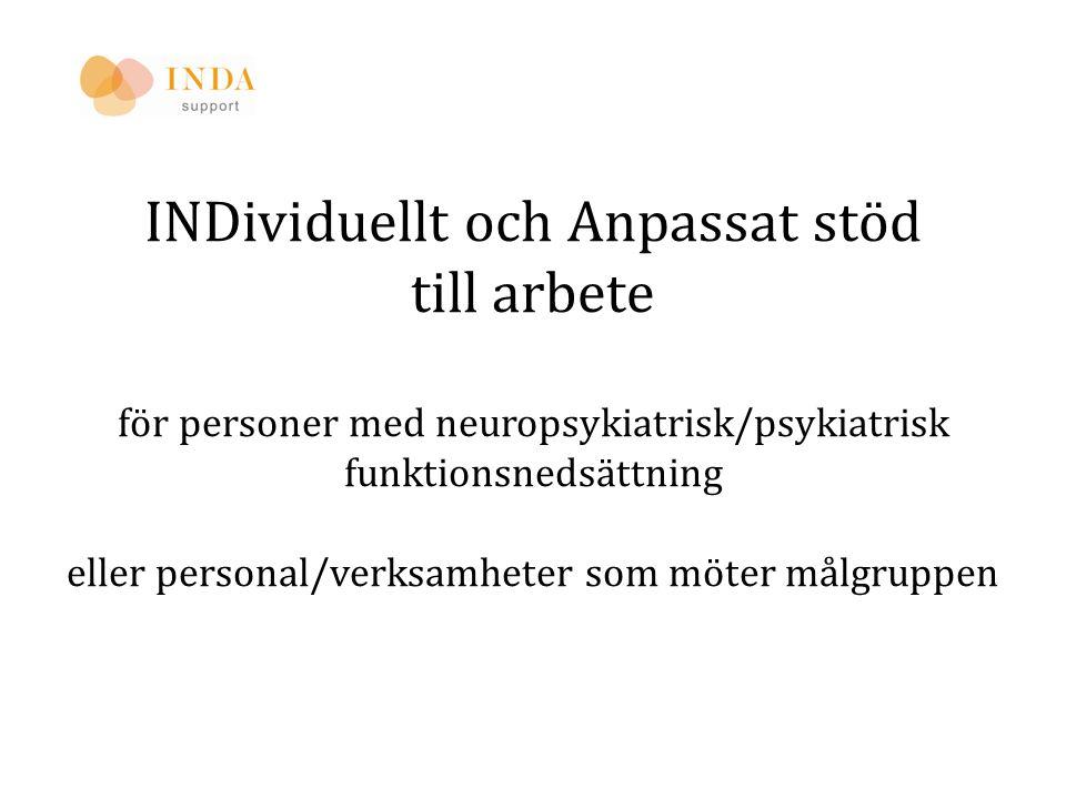INDividuellt och Anpassat stöd till arbete för personer med neuropsykiatrisk/psykiatrisk funktionsnedsättning eller personal/verksamheter som möter må