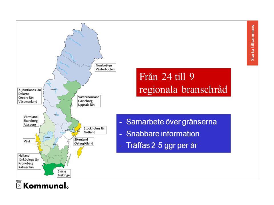 Från 24 till 9 regionala branschråd - Samarbete över gränserna - Snabbare information - Träffas 2-5 ggr per år