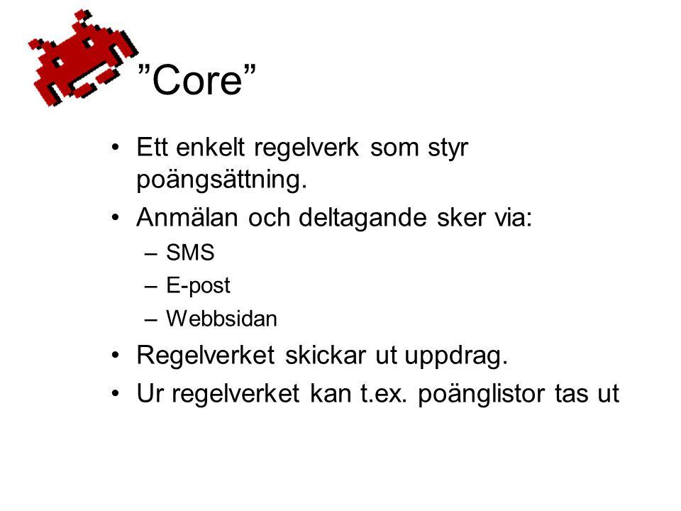 Core •Ett enkelt regelverk som styr poängsättning.