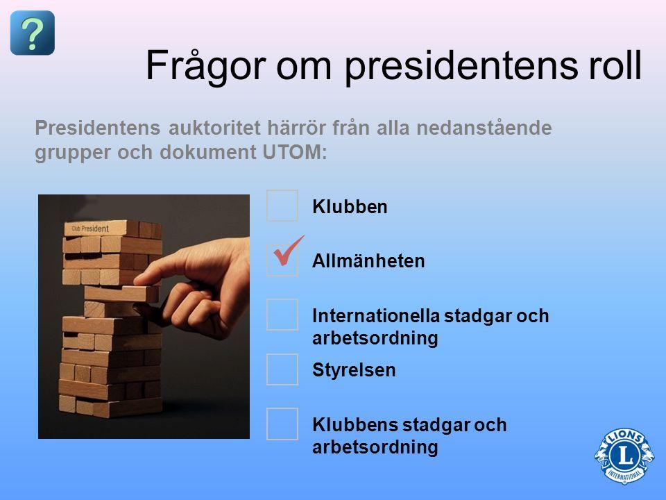 Frågor om presidentens roll Presidenten är klubbens _____________.
