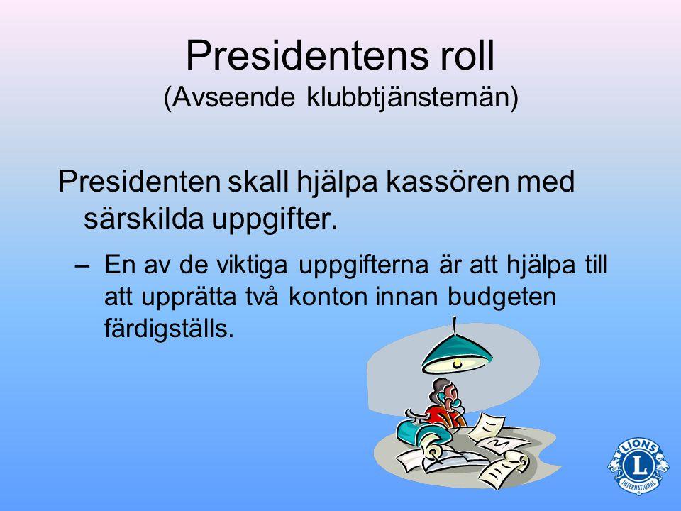 Presidentens roll (Avseende klubbtjänstemän) •Diskutera arkiveringsfrågor •I slutet av året skall alla handlingar överlämnas till de nya tjänstemännen –Kontinuerlig arkivering underlättar ett smidigt överlämnande