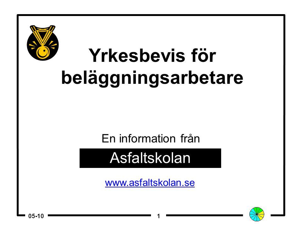 105-10 Yrkesbevis för beläggningsarbetare Asfaltskolan www.asfaltskolan.se En information från