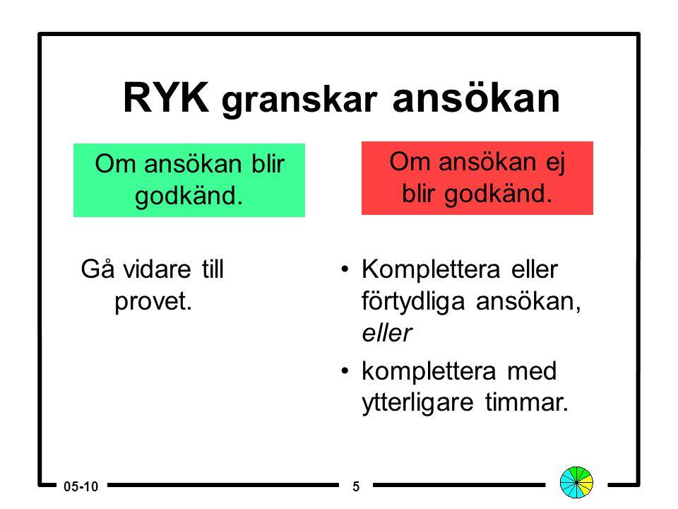 505-10 RYK granskar ansökan Om ansökan blir godkänd.