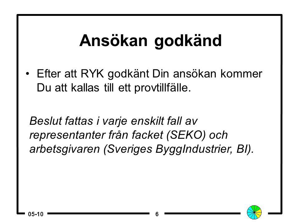605-10 Ansökan godkänd •Efter att RYK godkänt Din ansökan kommer Du att kallas till ett provtillfälle.