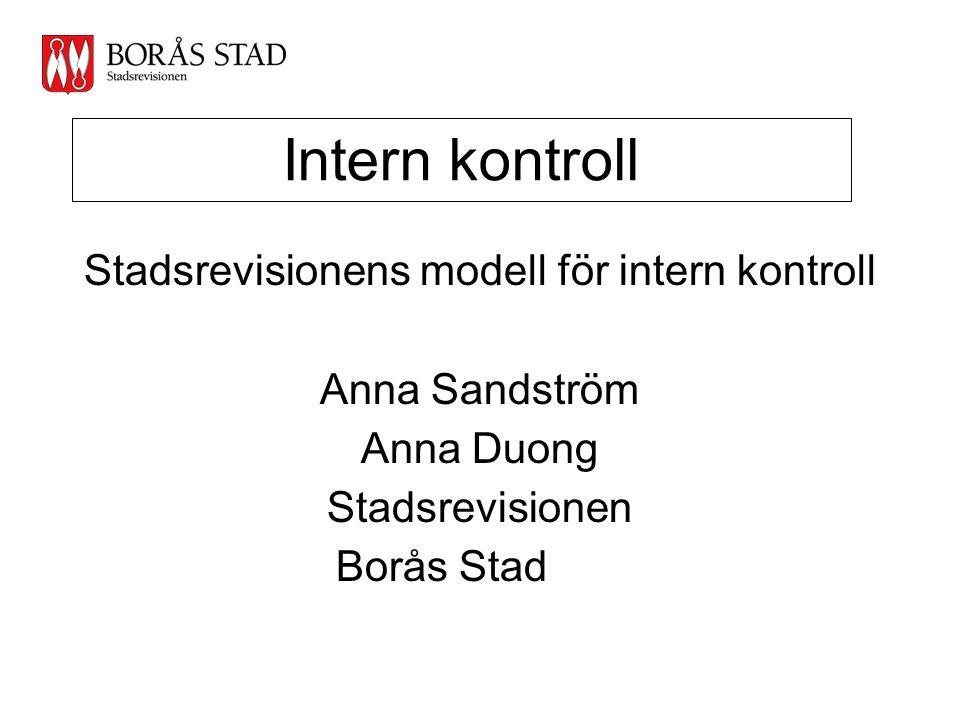 Intern kontroll Stadsrevisionens modell för intern kontroll Anna Sandström Anna Duong Stadsrevisionen Borås Stad