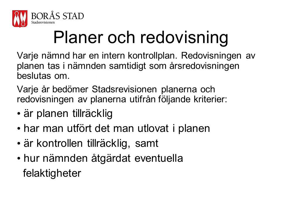Planer och redovisning Varje nämnd har en intern kontrollplan. Redovisningen av planen tas i nämnden samtidigt som årsredovisningen beslutas om. Varje