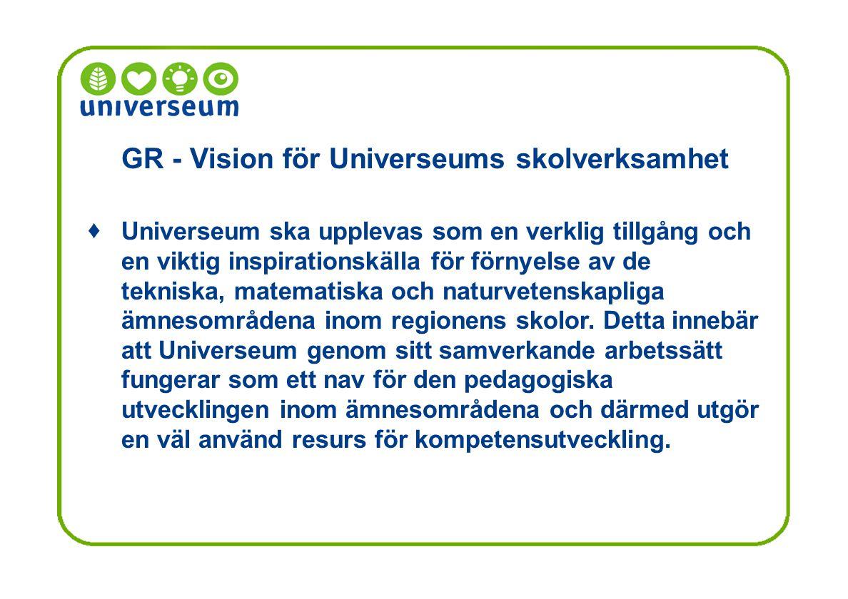 GR - Vision för Universeums skolverksamhet Universeum ska upplevas som en verklig tillgång och en viktig inspirationskälla för förnyelse av de tekniska, matematiska och naturvetenskapliga ämnesområdena inom regionens skolor.