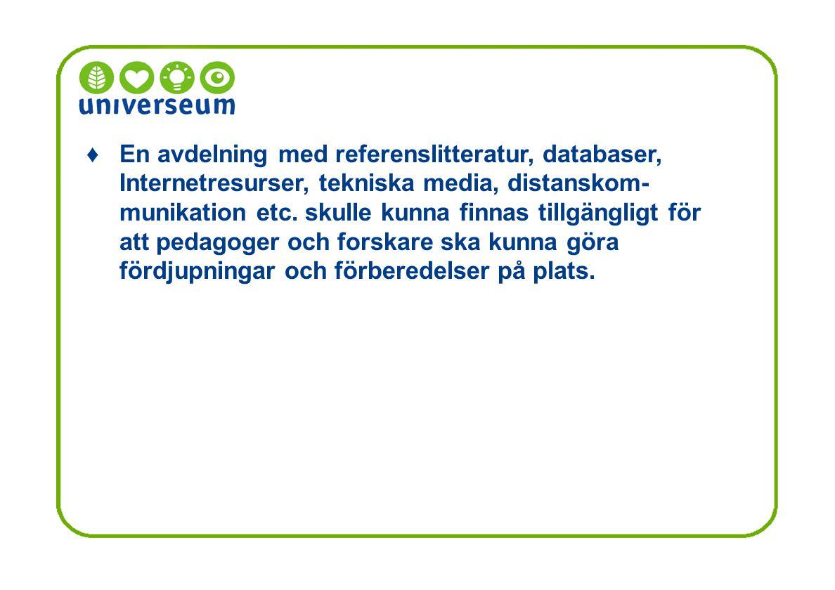 En avdelning med referenslitteratur, databaser, Internetresurser, tekniska media, distanskom- munikation etc.