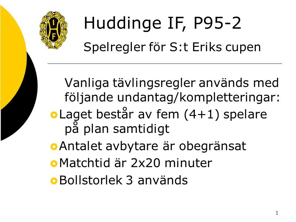 1 Vanliga tävlingsregler används med följande undantag/kompletteringar:  Laget består av fem (4+1) spelare på plan samtidigt  Antalet avbytare är obegränsat  Matchtid är 2x20 minuter  Bollstorlek 3 används Huddinge IF, P95-2 Spelregler för S:t Eriks cupen