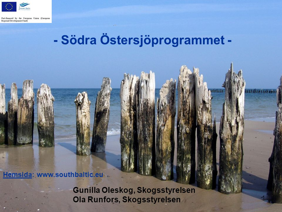 - Södra Östersjöprogrammet - Hemsida: www.southbaltic.eu 1 Gunilla Oleskog, Skogsstyrelsen Ola Runfors, Skogsstyrelsen