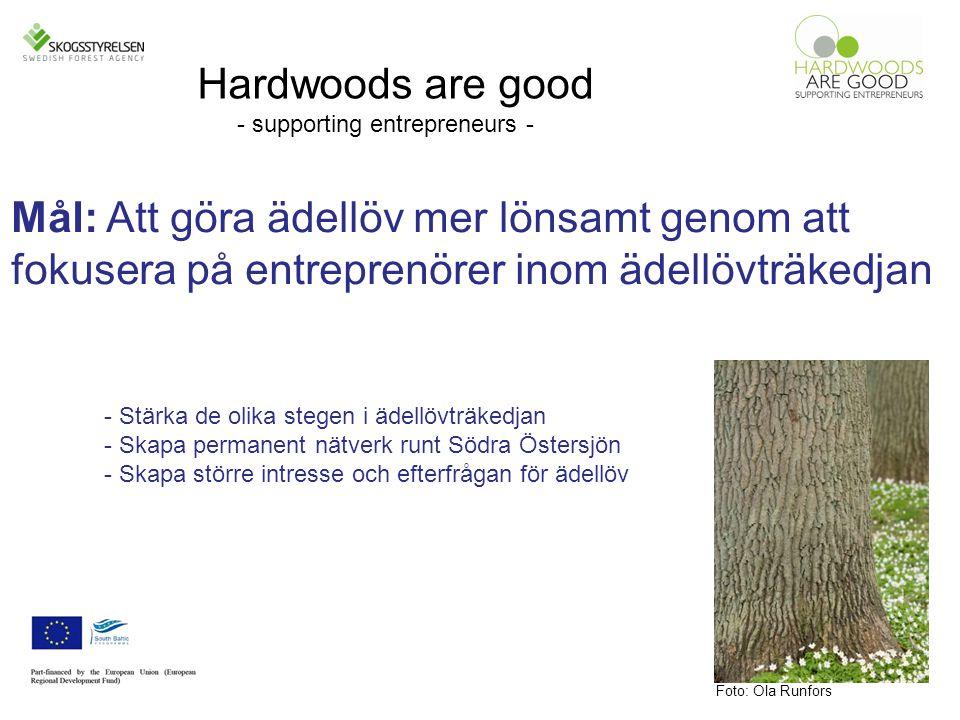 Mål: Att göra ädellöv mer lönsamt genom att fokusera på entreprenörer inom ädellövträkedjan Foto: Ola Runfors Hardwoods are good - supporting entrepreneurs - - Stärka de olika stegen i ädellövträkedjan - Skapa permanent nätverk runt Södra Östersjön - Skapa större intresse och efterfrågan för ädellöv