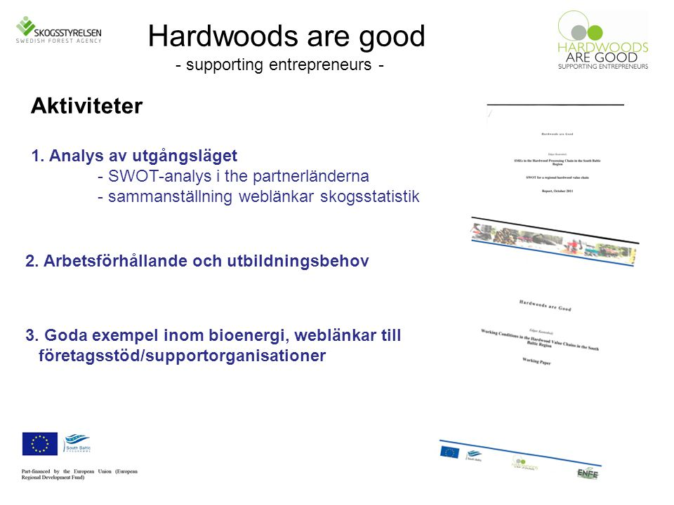Hardwoods are good - supporting entrepreneurs - Aktiviteter 1.