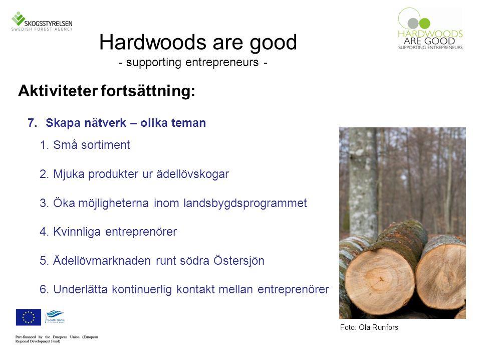 Hardwoods are good - supporting entrepreneurs - Aktiviteter fortsättning: Foto: Ola Runfors 7.Skapa nätverk – olika teman 1.