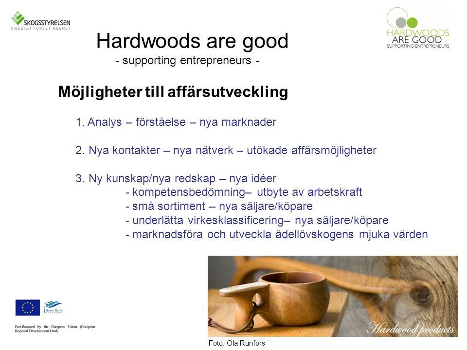 Hardwoods are good - supporting entrepreneurs - Möjligheter till affärsutveckling 1.