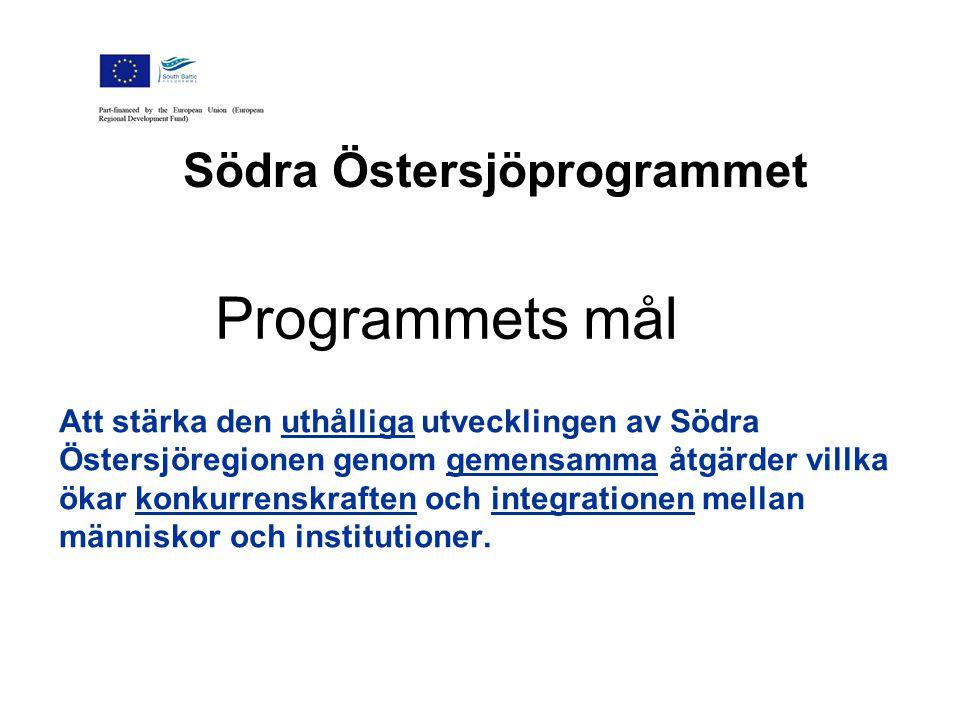 Södra Östersjöprogrammet Att stärka den uthålliga utvecklingen av Södra Östersjöregionen genom gemensamma åtgärder villka ökar konkurrenskraften och integrationen mellan människor och institutioner.