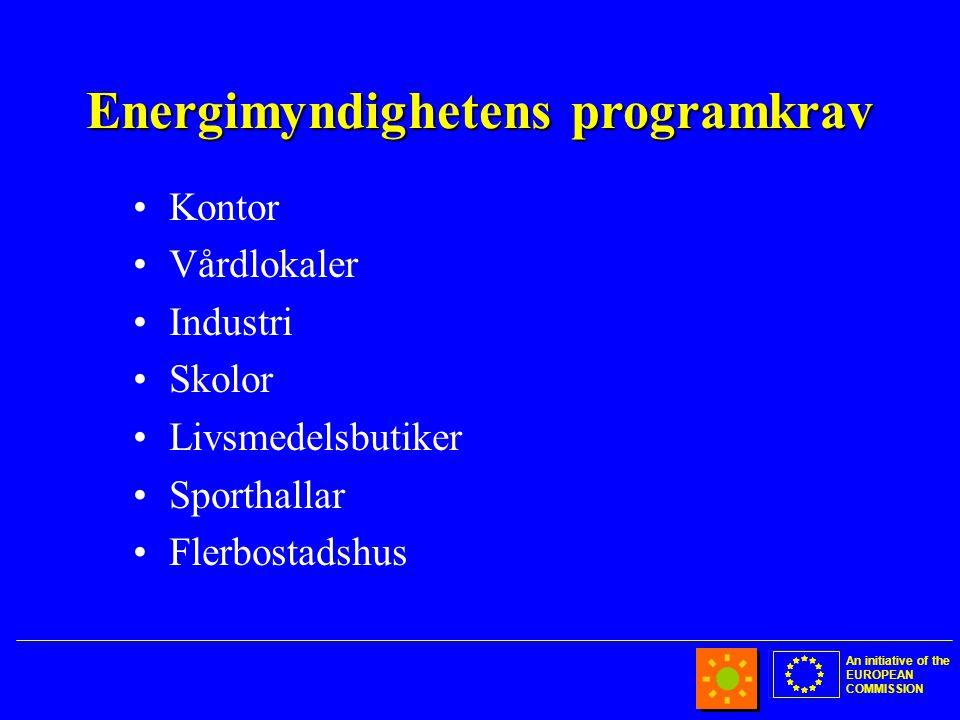 An initiative of the EUROPEAN COMMISSION Energimyndighetens programkrav •Kontor •Vårdlokaler •Industri •Skolor •Livsmedelsbutiker •Sporthallar •Flerbostadshus