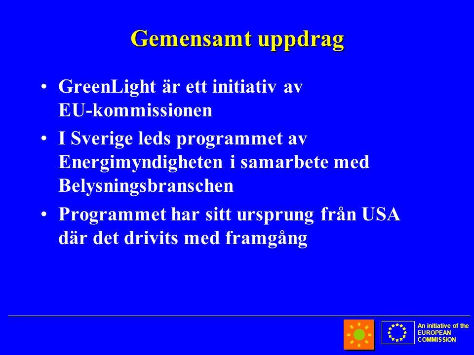 An initiative of the EUROPEAN COMMISSION Gemensamt uppdrag •GreenLight är ett initiativ av EU-kommissionen •I Sverige leds programmet av Energimyndigheten i samarbete med Belysningsbranschen •Programmet har sitt ursprung från USA där det drivits med framgång