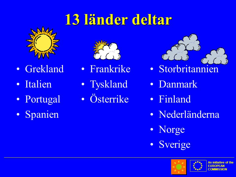 An initiative of the EUROPEAN COMMISSION 13 länder deltar •Grekland •Italien •Portugal •Spanien •Storbritannien •Danmark •Finland •Nederländerna •Norge •Sverige •Frankrike •Tyskland •Österrike