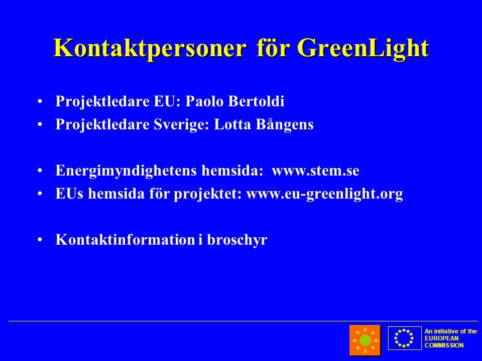 An initiative of the EUROPEAN COMMISSION Kontaktpersoner för GreenLight •Projektledare EU: Paolo Bertoldi •Projektledare Sverige: Lotta Bångens •Energimyndighetens hemsida: www.stem.se •EUs hemsida för projektet: www.eu-greenlight.org •Kontaktinformation i broschyr