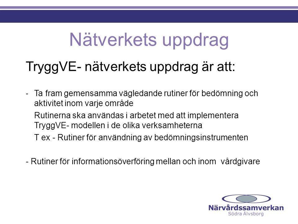 Nätverkets uppdrag TryggVE- nätverkets uppdrag är att: - Ta fram gemensamma vägledande rutiner för bedömning och aktivitet inom varje område Rutinerna