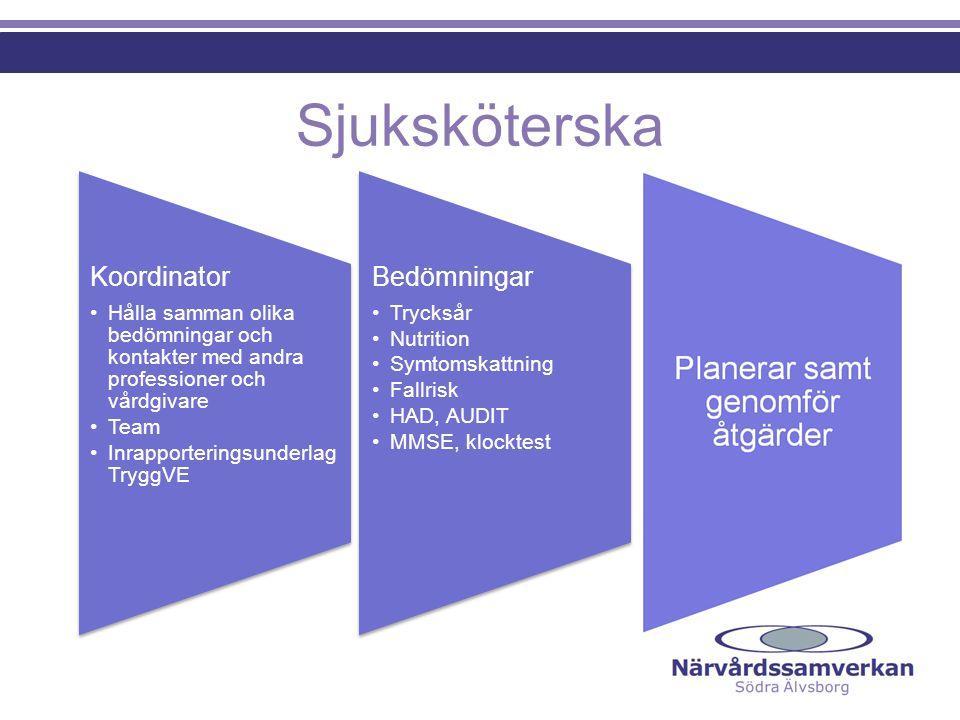 Sjuksköterska Bedömningar •Trycksår •Nutrition •Symtomskattning •Fallrisk •HAD, AUDIT •MMSE, klocktest Koordinator •Hålla samman olika bedömningar och