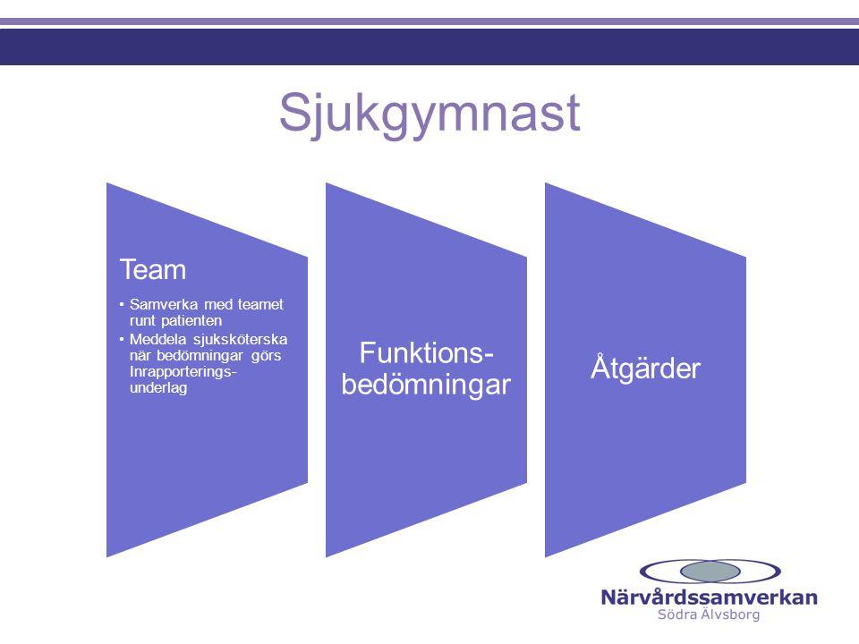 Sjukgymnast Team •Samverka med teamet runt patienten •Meddela sjuksköterska när bedömningar görs Inrapporterings- underlag Funktions- bedömningar Åtgä