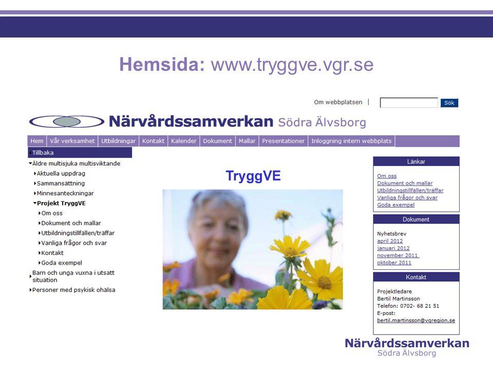 TryggVE i teori och praktik  Presentation av modellen - mål, uppdrag, team  Genomförande - sjukhus - kommun - primärvård