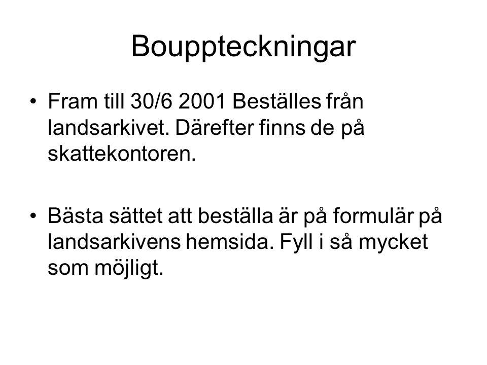 Bouppteckning Bouppteckning beställd från landsarkivet i Göteborg