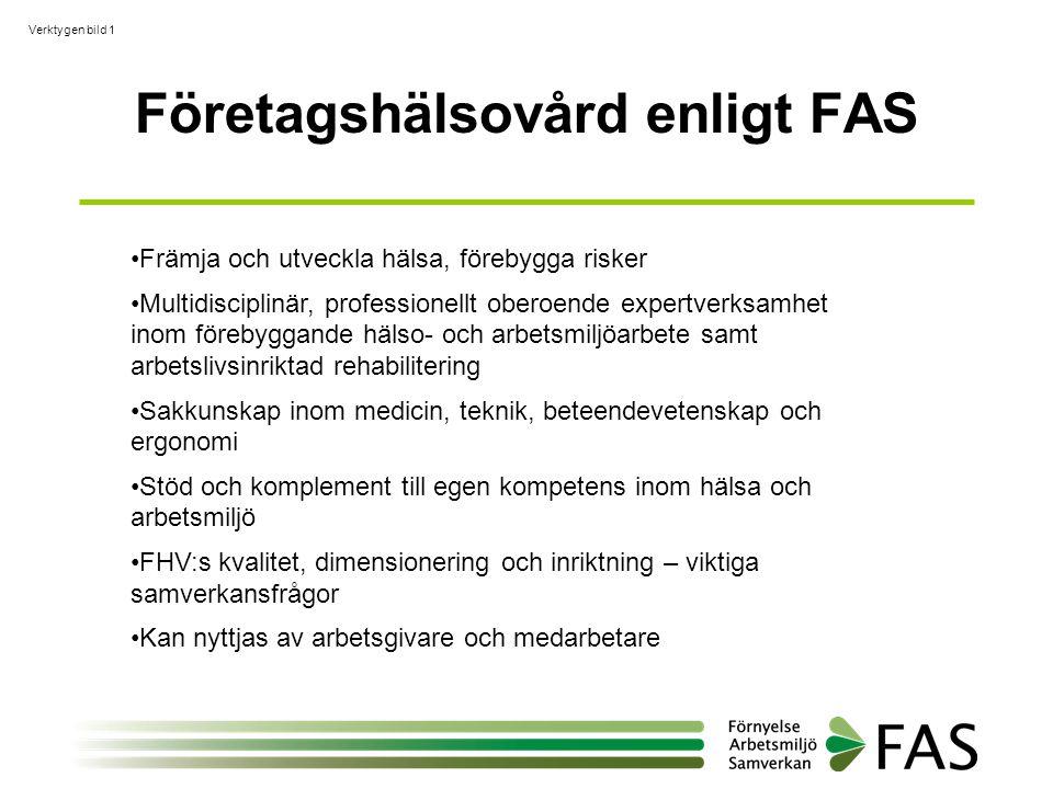 Verktygen bild 1 Företagshälsovård enligt FAS •Främja och utveckla hälsa, förebygga risker •Multidisciplinär, professionellt oberoende expertverksamhe
