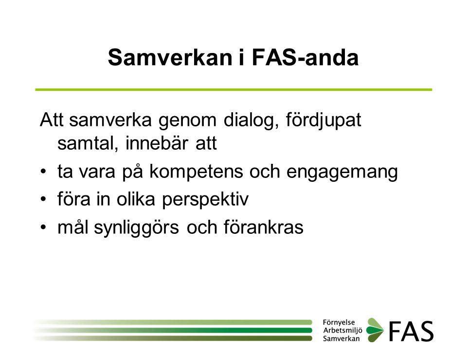 Samverkan i FAS-anda Att samverka genom dialog, fördjupat samtal, innebär att •ta vara på kompetens och engagemang •föra in olika perspektiv •mål synl