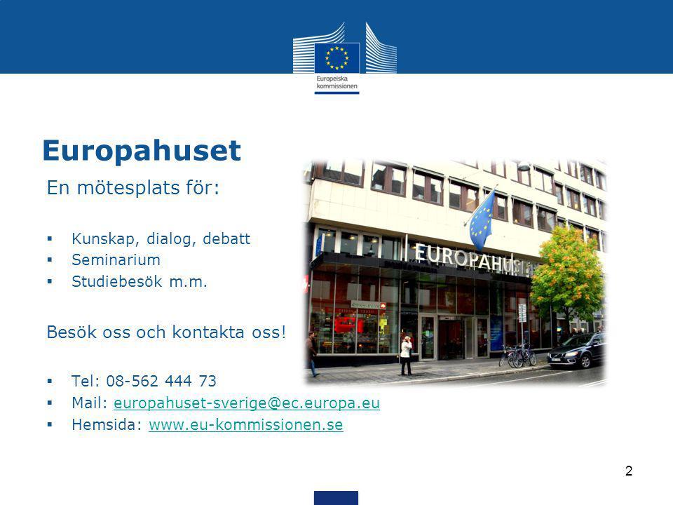 Europahuset En mötesplats för:  Kunskap, dialog, debatt  Seminarium  Studiebesök m.m.
