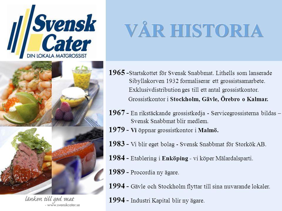 1965 - Startskottet för Svensk Snabbmat. Lithells som lanserade Sibyllakorven 1932 formaliserar ett grossistsamarbete. Exklusivdistribution ges till e