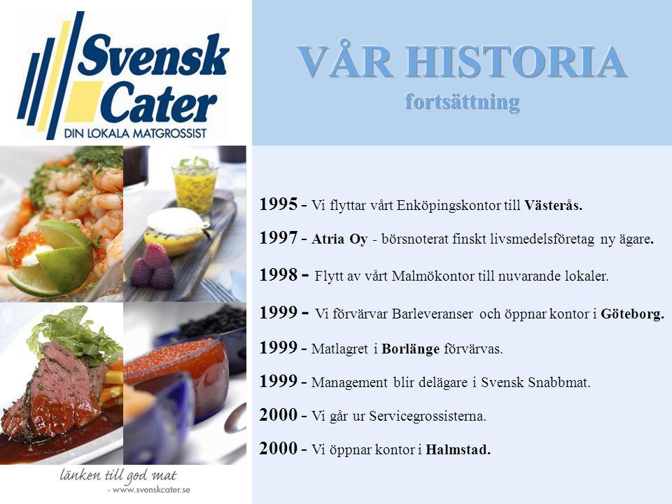 1995 - Vi flyttar vårt Enköpingskontor till Västerås. 1997 - Atria Oy - börsnoterat finskt livsmedelsföretag ny ägare. 1998 - Flytt av vårt Malmökonto