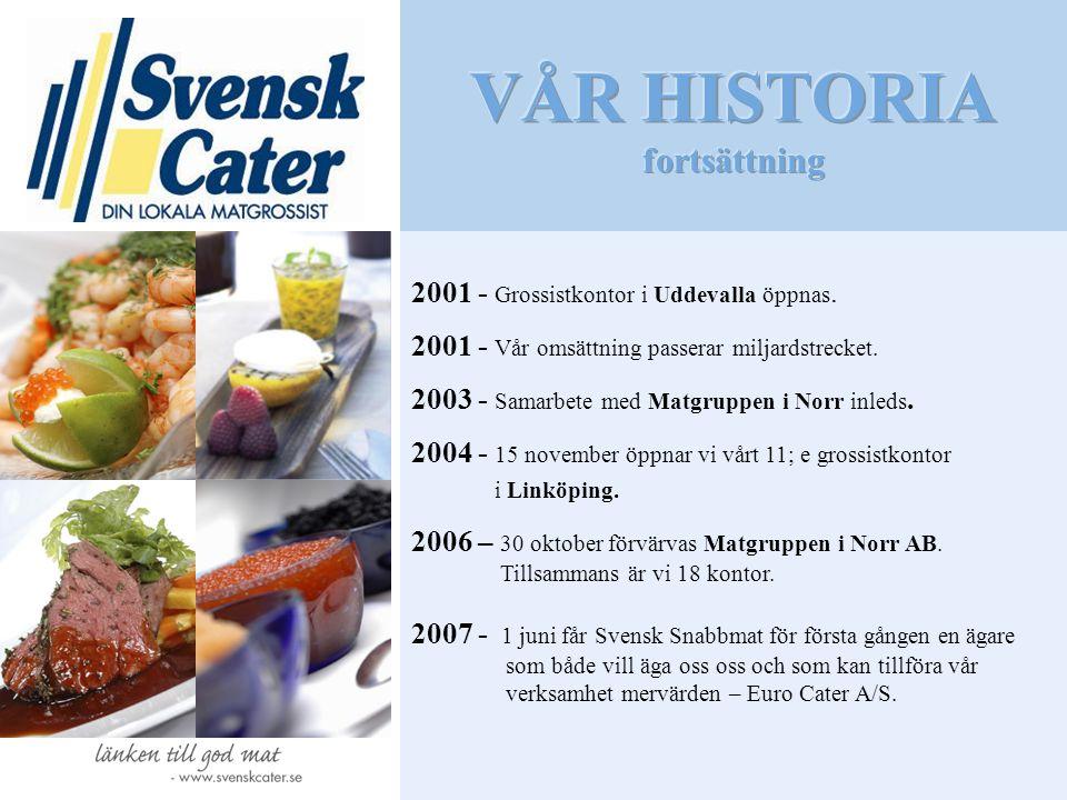 2001 - Grossistkontor i Uddevalla öppnas. 2001 - Vår omsättning passerar miljardstrecket. 2003 - Samarbete med Matgruppen i Norr inleds. 2004 - 15 nov