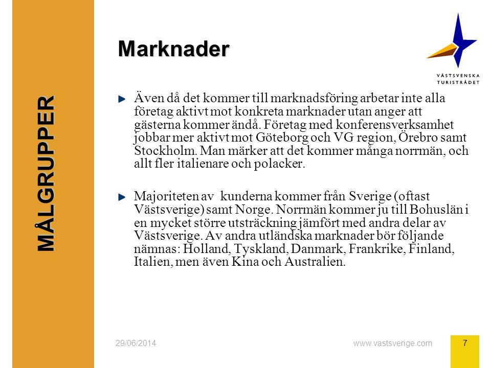 29/06/2014www.vastsverige.com7 Marknader Även då det kommer till marknadsföring arbetar inte alla företag aktivt mot konkreta marknader utan anger att gästerna kommer ändå.