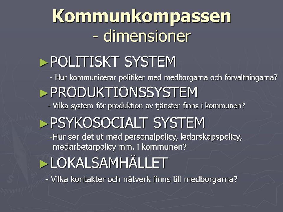 Kommunkompassen - dimensioner ► POLITISKT SYSTEM - Hur kommunicerar politiker med medborgarna och förvaltningarna? ► PRODUKTIONSSYSTEM - Vilka system