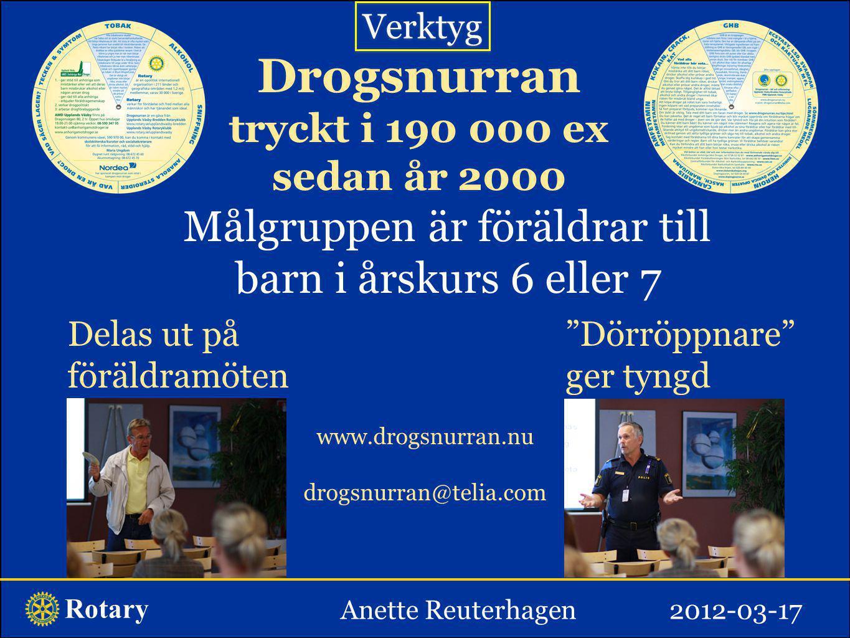 """Rotary Drogsnurran tryckt i 190 000 ex sedan år 2000 Målgruppen är föräldrar till barn i årskurs 6 eller 7 Delas ut på föräldramöten """"Dörröppnare"""" ger"""