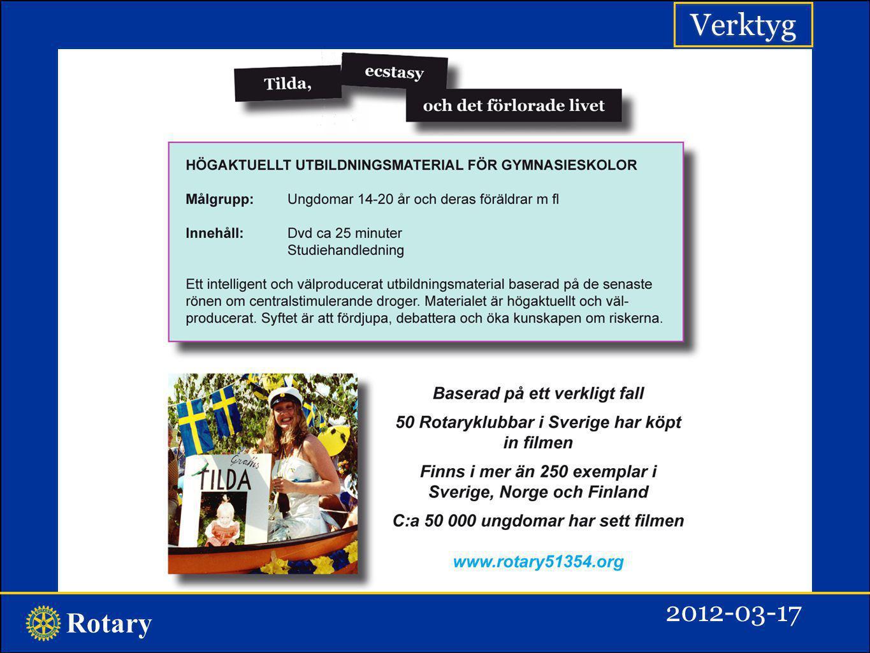 Rotary Flera verktyg i distrikt 2350 Flera exempel på Rotaryklubbars goda drogförebyggande verktyg inom distrikt 2350 finns i projektbanken på distriktets hemsida: Projektsammanställning 2350 2011-12 PER 2012-02-22.pdf Anette Reuterhagen2012-03-17
