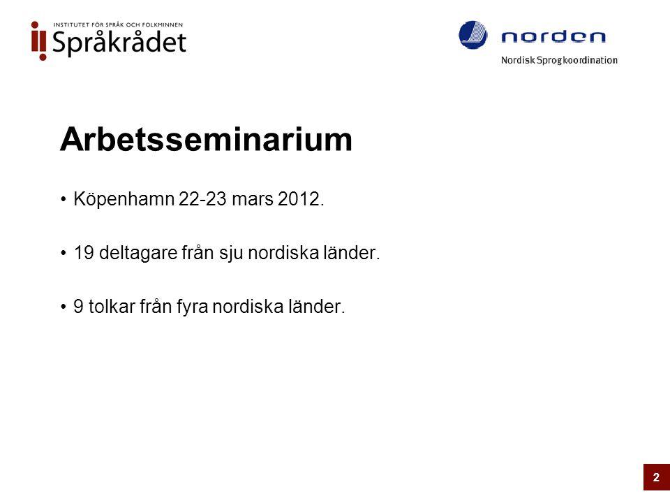 Arbetsseminarium •Köpenhamn 22-23 mars 2012. •19 deltagare från sju nordiska länder. •9 tolkar från fyra nordiska länder. 2