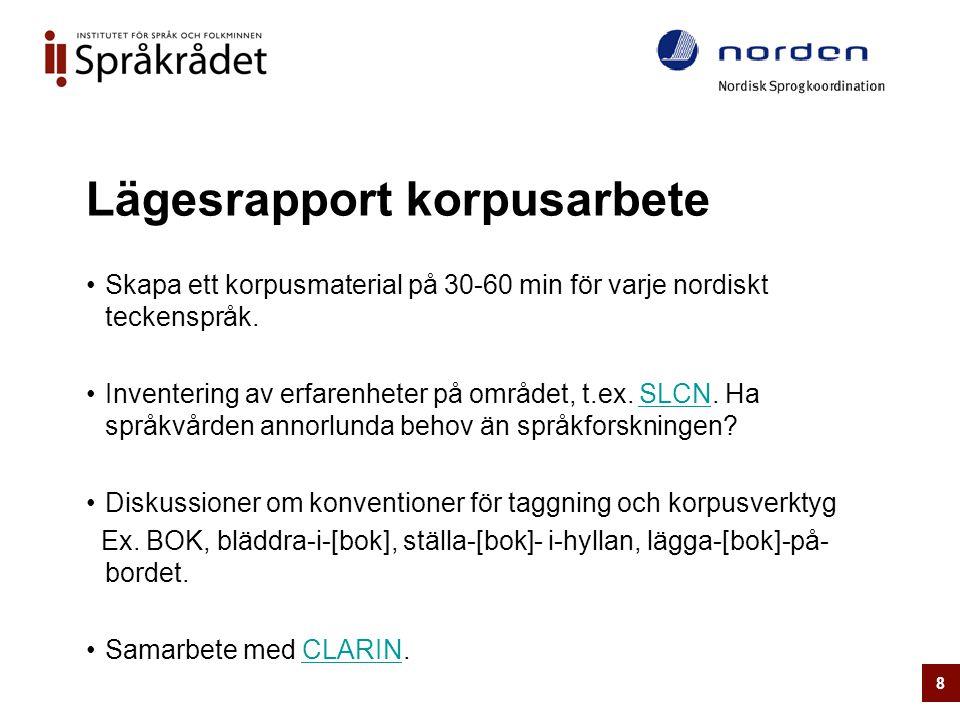 Lägesrapport korpusarbete •Skapa ett korpusmaterial på 30-60 min för varje nordiskt teckenspråk. •Inventering av erfarenheter på området, t.ex. SLCN.