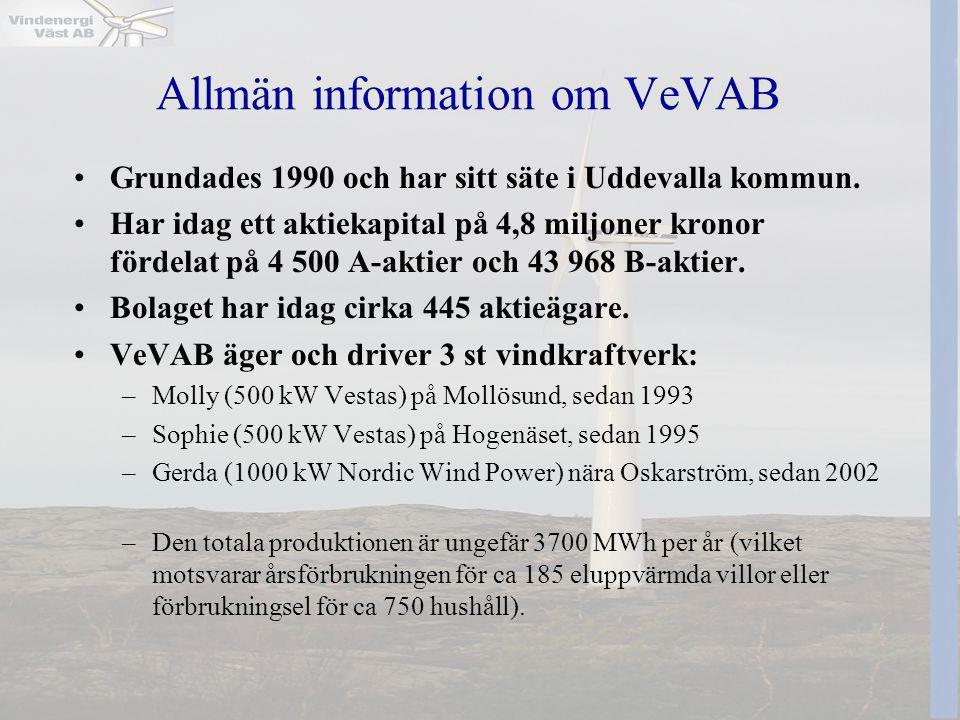 Allmän information om VeVAB •Grundades 1990 och har sitt säte i Uddevalla kommun. •Har idag ett aktiekapital på 4,8 miljoner kronor fördelat på 4 500