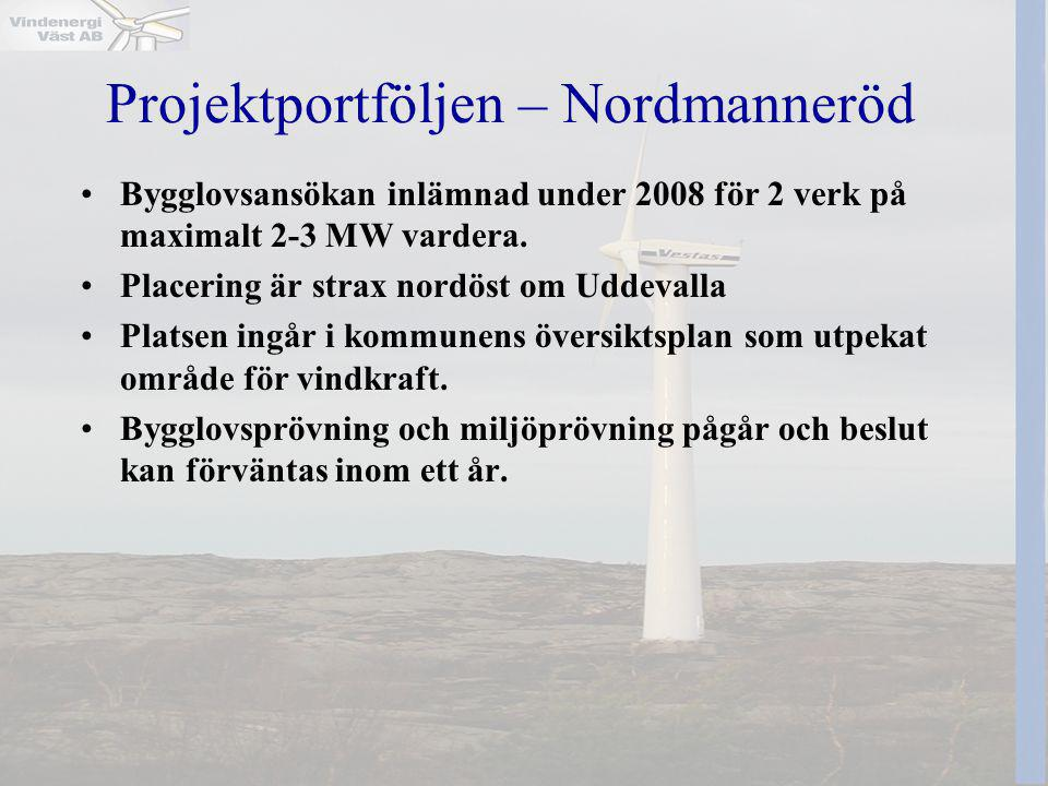 Projektportföljen – Nordmanneröd •Bygglovsansökan inlämnad under 2008 för 2 verk på maximalt 2-3 MW vardera. •Placering är strax nordöst om Uddevalla