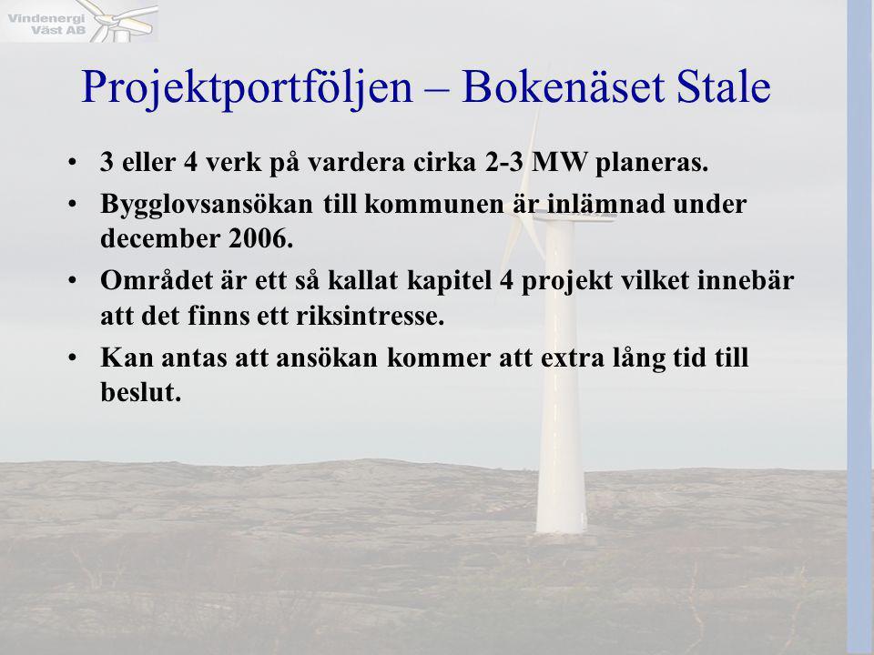 Projektportföljen – Bokenäset Stale •3 eller 4 verk på vardera cirka 2-3 MW planeras. •Bygglovsansökan till kommunen är inlämnad under december 2006.