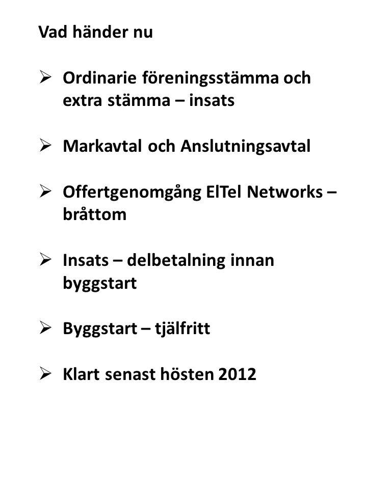Vad händer nu  Ordinarie föreningsstämma och extra stämma – insats  Markavtal och Anslutningsavtal  Offertgenomgång ElTel Networks – bråttom  Insa