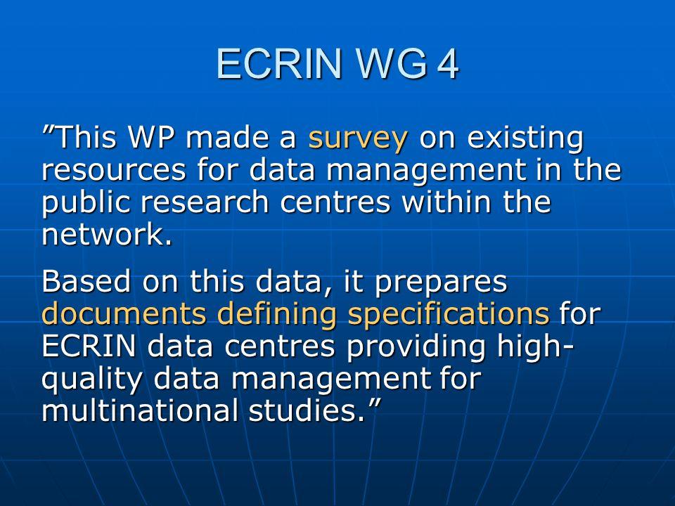 Arbetsgrupp 4 Data management  Arbete nr 9: Survey on data management, tools and procedures within ECRIN (13.7.2007)  Syfte: Uppskattning av DM struktur, resurser etc, intresset för multi- nationella studier inom ECRIN.