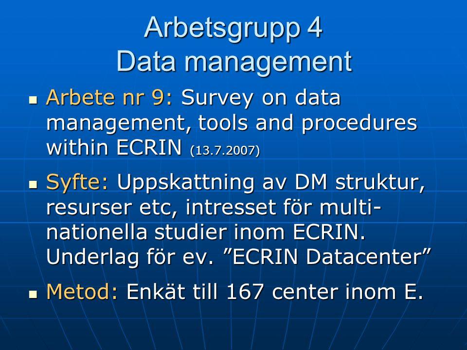 Arbetsgrupp 4 Data management  Arbete nr 9: Survey on data management, tools and procedures within ECRIN (13.7.2007)  Syfte: Uppskattning av DM stru