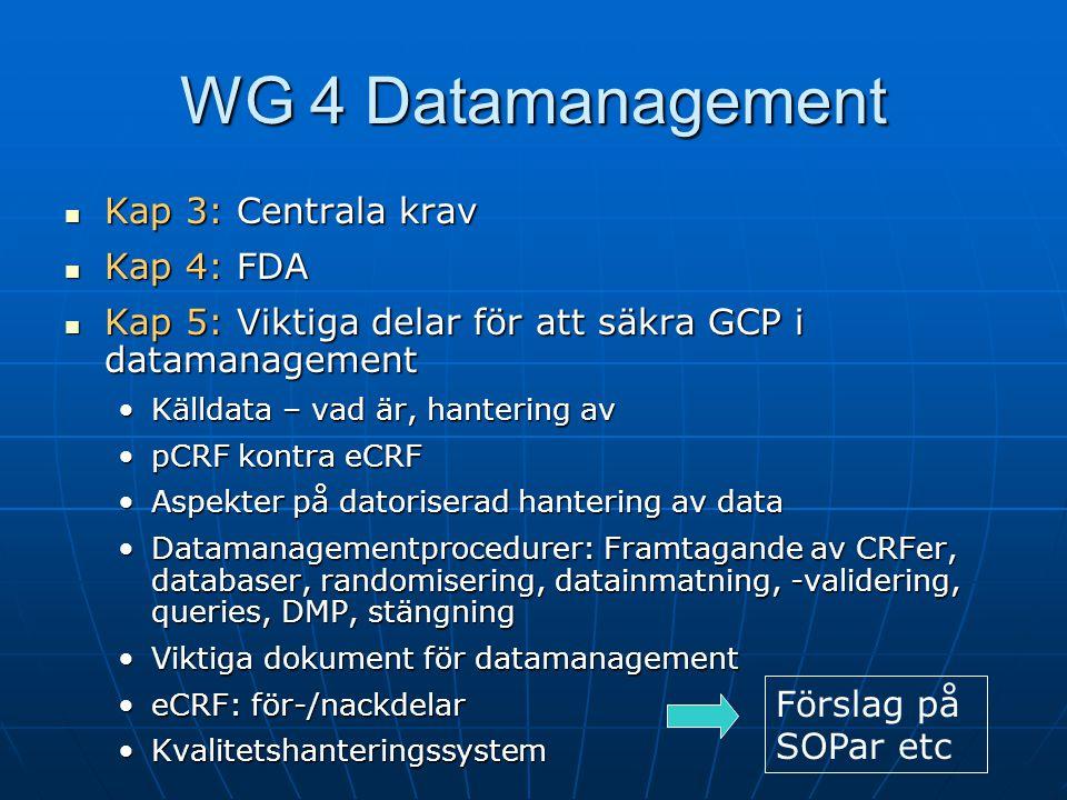  Kap 3: Centrala krav  Kap 4: FDA  Kap 5: Viktiga delar för att säkra GCP i datamanagement •Källdata – vad är, hantering av •pCRF kontra eCRF •Aspe