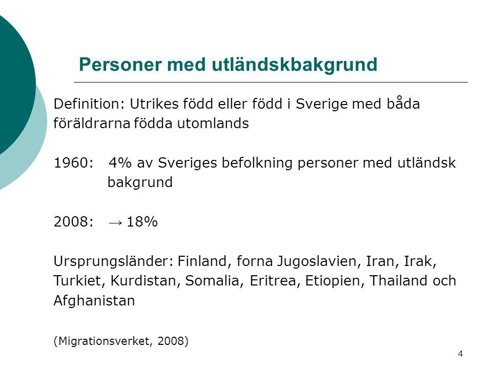 4 Personer med utländskbakgrund Definition: Utrikes född eller född i Sverige med båda föräldrarna födda utomlands 1960: 4% av Sveriges befolkning per