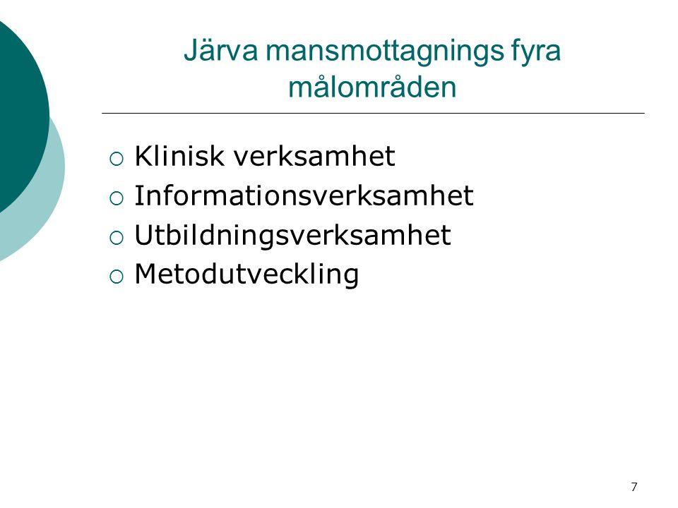 7 Järva mansmottagnings fyra målområden  Klinisk verksamhet  Informationsverksamhet  Utbildningsverksamhet  Metodutveckling
